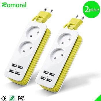 EU Plug Power Strip 4 USB Port Charger Socket, 1200W Multiple Portable Travel Plug Adapter for Smartphones Tablets