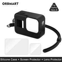 Silikon kılıf GoPro Hero 8 siyah temperli cam ekran koruyucu koruyucu Lens filmi konut kapak git Pro 8 aksesuarları