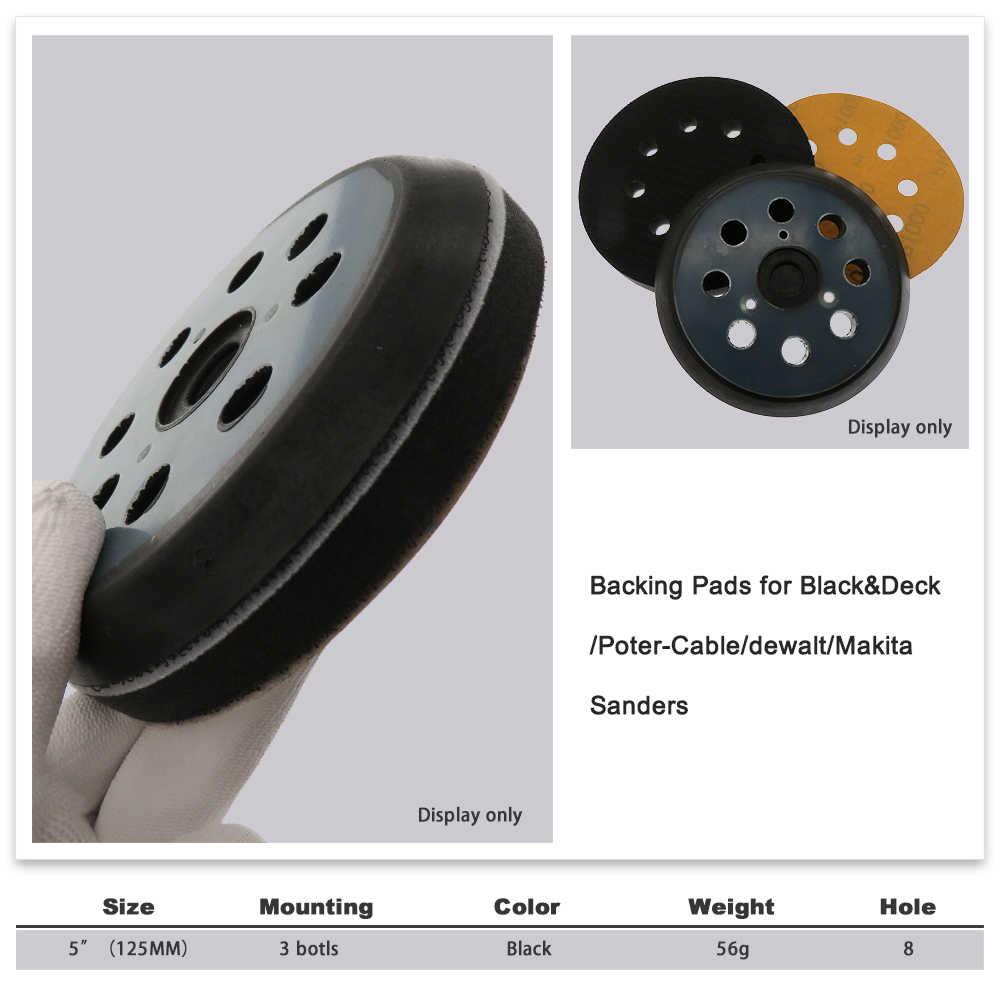 "5/"" 125mm 8 Holes Sanding Pad Sander Backing Self Adhesive Disc For Ridgid R2600"