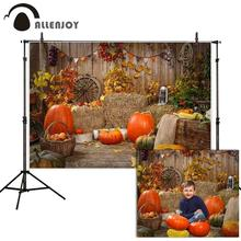 Allenjoy photophone studio backgrounds photography Autumn pumpkin wood wall hay barn child backdrop photocall photobooth decor