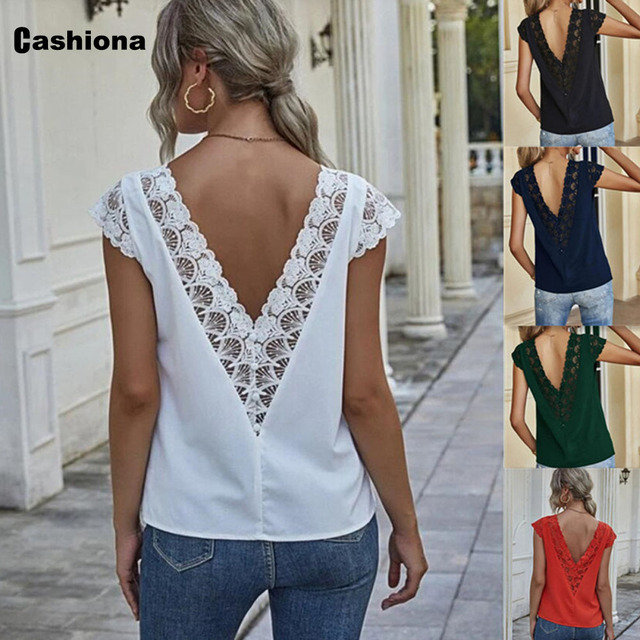 Women Elegant Leisure Chiffon Blouse 2021 Summer New Patchwork Lace Tops Backless V-neck Shirt Feminina Blusas Shirt Ropa Mujer 1