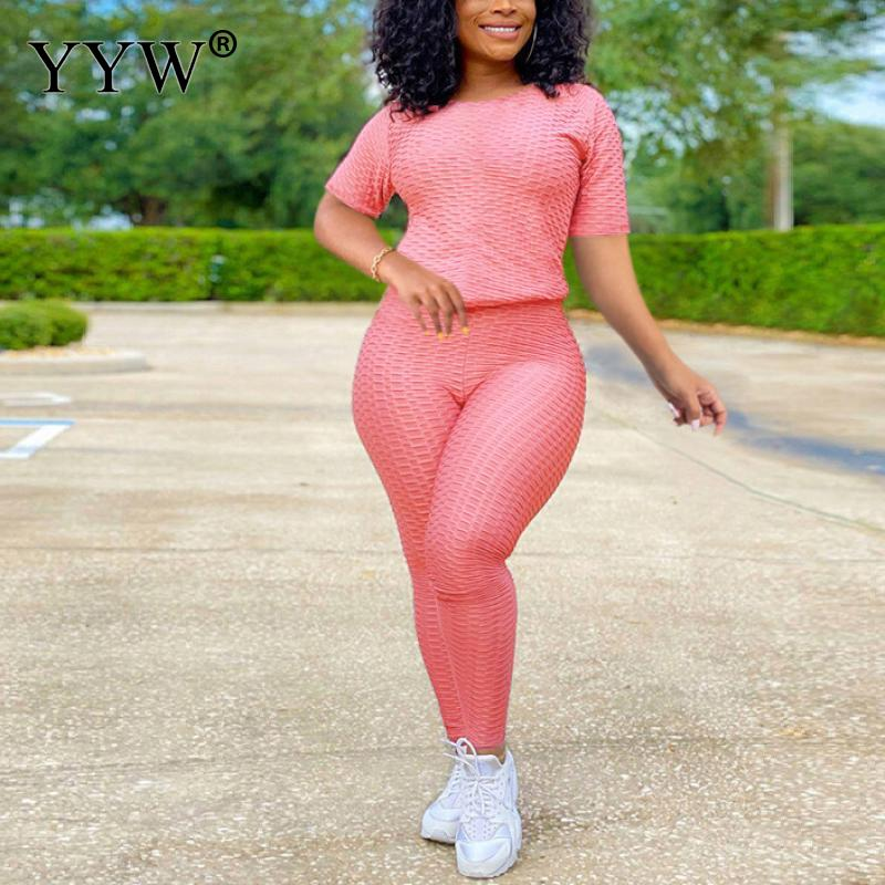 2021 activo de Sweatsuit de la mujer establece camiseta de la longitud de la rodilla pantalones Leggings traje de deporte chándal de dos piezas Fitness traje