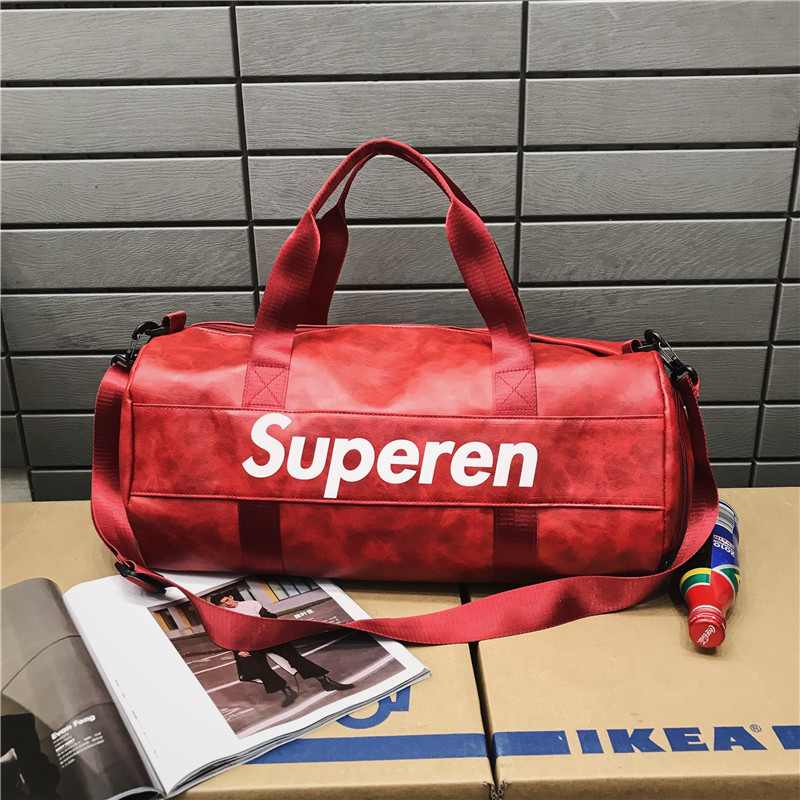 Wet And Dry Isolation Shoulder Sports Bag Short Trip Travel Hand Luggage PU Leather Gym Bag Can Be Customized Logo