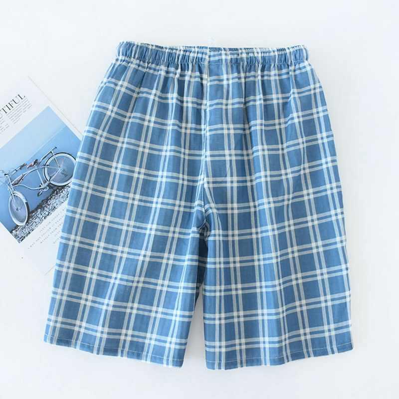 남성 코튼 거즈 바지 체크 무늬 니트 수면 바지 남성 잠옷 바지 하의 잠옷 파자마 남성용 짧은 Pijama Hombre