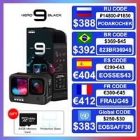 GoPro-Cámara de acción HERO9 impermeable, LCD frontal pantallas táctiles, 5K, Ultra HD, 20MP, 1080p, transmisión en vivo, estabilizador Go Pro 9, color negro