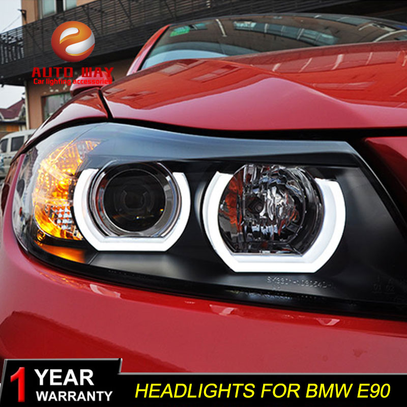 Car Styling Car Headlights For <font><b>BMW</b></font> <font><b>E90</b></font> headlamp 318i 320i 325i Headlight LED Angel eyes <font><b>Front</b></font> <font><b>light</b></font> for 318 320 325 Bi Xenon Len image