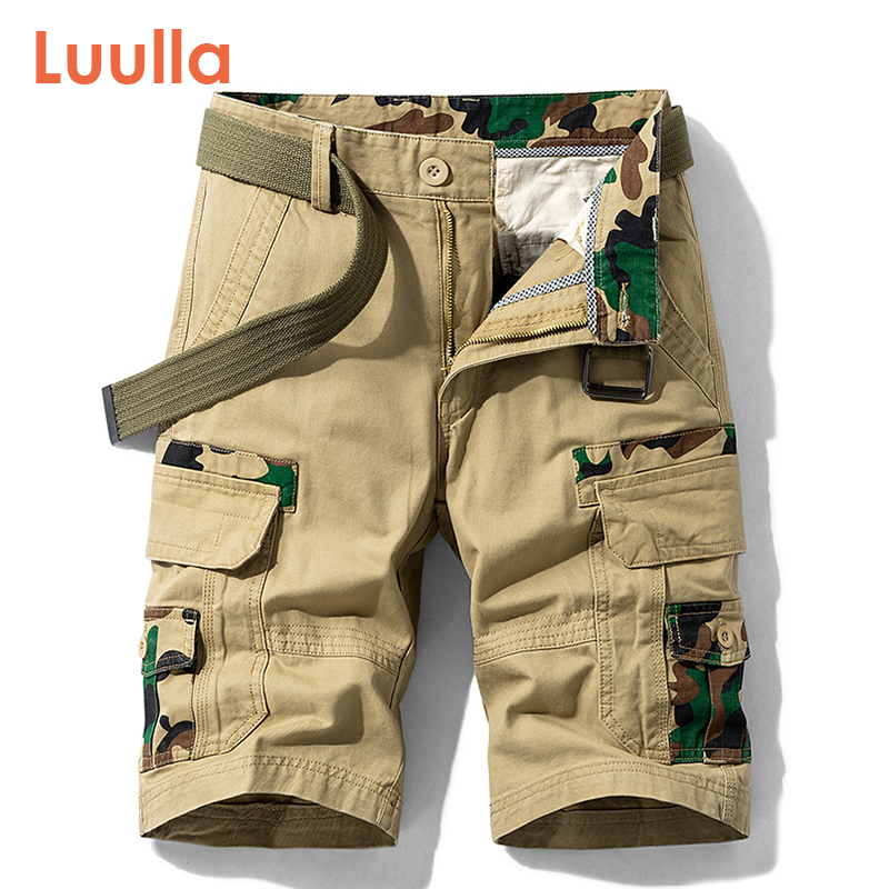 Luulla Men 2020 Summer New Casual Vintage Classic Pockets Cargo Shorts Men Outwear Fashion Twill Cotton Camouflage Shorts Men