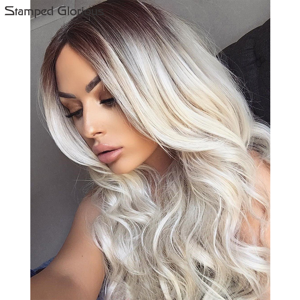 Stamped Glorious Ombre Long Curly Hair Two Tone Blond Synthetic Wigs For Women Middle Part Wig With Heat Resistant Fiber Hairs