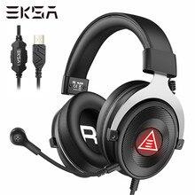 Eksa pc gaming headset gamer enc cancelamento de ruído e900 mais usb 7.1 surround fones de ouvido com fio microfone para ps4