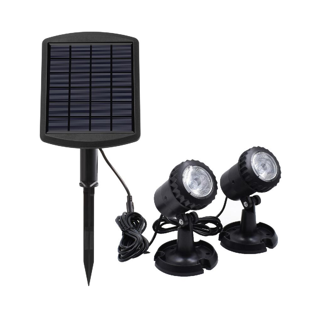 LumiParty 2LEDs Solar Powered Submersible Lamp Spotlight Projection Light For Garden Lawn Pool Pond