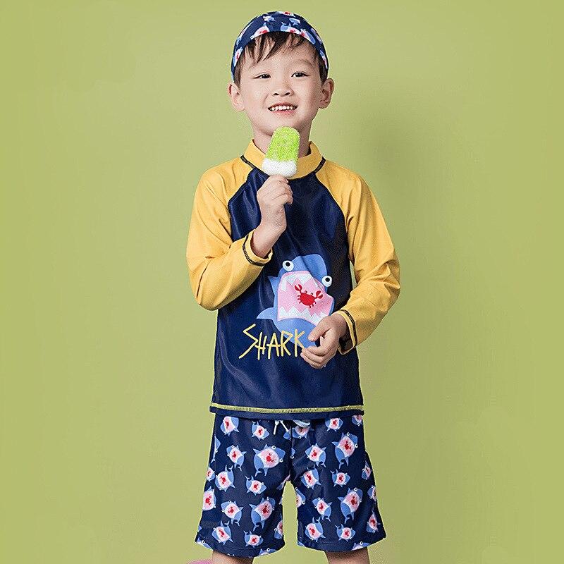 2018 Children BOY'S Male Baby Super Cute Hot Springs Split Type Bathing Suit Long Sleeve Sun-resistant Swimwear Olive Flower 200
