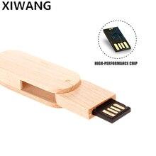 USB flash drive Mini rotary wood Pendrive usb 2.0 4GB 8GB 16GB pen drive 32GB 64GB 128gb high speed usb memory stick custom logo