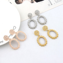 HOCOLE Fashion Metal Drop Earrings For Women Vintage Geometric Gold Silver Color Earring Statement ZA 2019 Jewelry Party