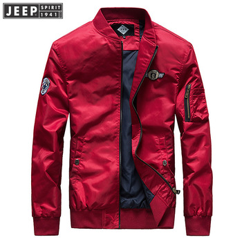 JEEP SPIRIT Autumn Bomber Jacket Men Brand New Baseball Jacket Solid Color Armlet Mens Jackets And Coats chaqueta hombre