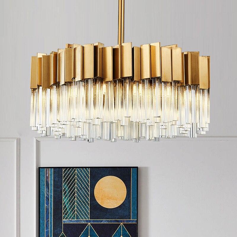 Postmodern Simple Stainless Steel Light Luxury Crystal Lamp Dining Room Study Hall Hall Lighting Designer Living Room Chandelier