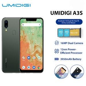 UMIDIGI A3S Android 10, глобальный диапазон, 3950 мАч, двойная камера заднего вида, 5,7 дюймов, смартфон, 13 МП, селфи, три слота, двойной, 4G VoLTE Celular
