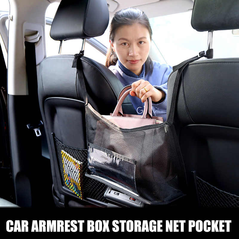 Black Car Hooks for Purses Hold Young Car Net Pocket Handbag Holder Handbag Holder for Car Seat Back Net Bag Driver Storage Netting Pouch Car Mesh Organizer