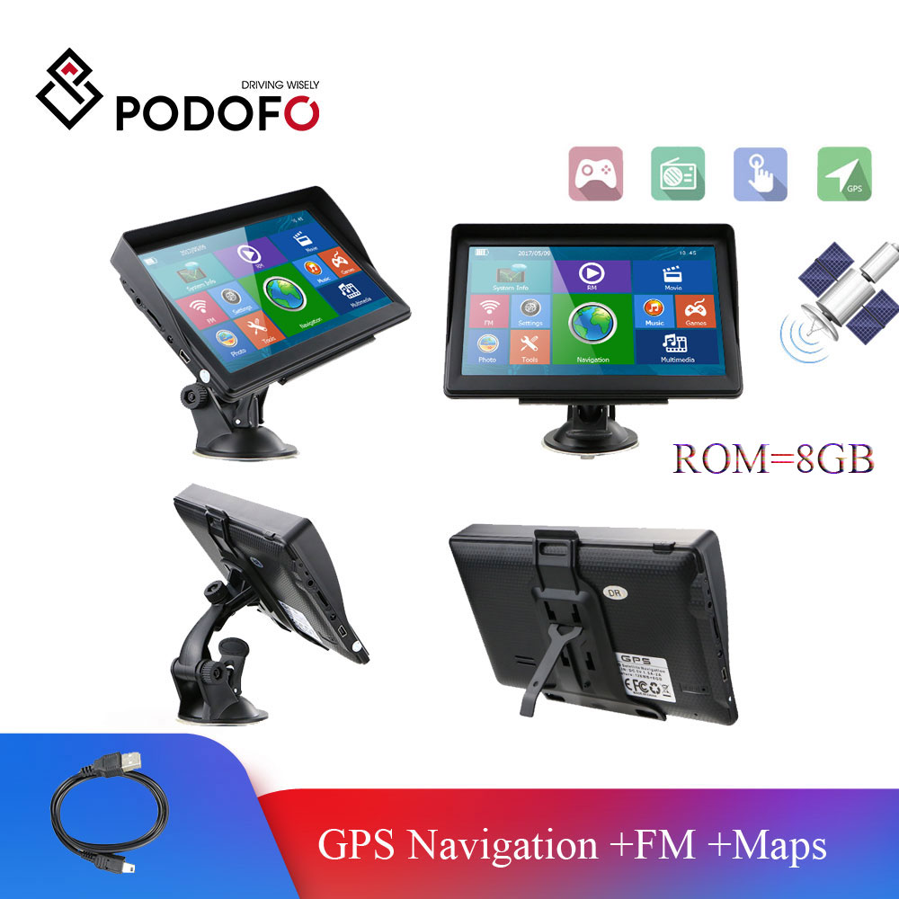 Podofo Car GPS Navigation Map Builtin 8GB ROM FM Radio 7'' HD MP3 MP4 Car Sat Nav Automobile Vehicle Navitel Truck GPS Navigator