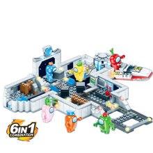 Novo amongeado eua espaço alienígena figuras peluche modelo de jogo blocos de construção kit tijolos conjuntos clássicos crianças brinquedos para crianças presente