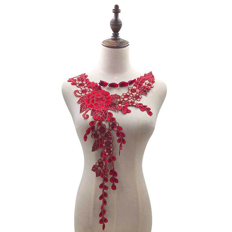 Water Soluble Lace Corsage Heavy Yarn-dyed Embroidery Collar Colorful Chest Collar DIY Lace Accessories