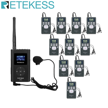 1 FM Transmitter FT11+10Pcs FM Radio Receiver PR13 Wireless Voice Transmission System For Guiding Church Meeting Training 1