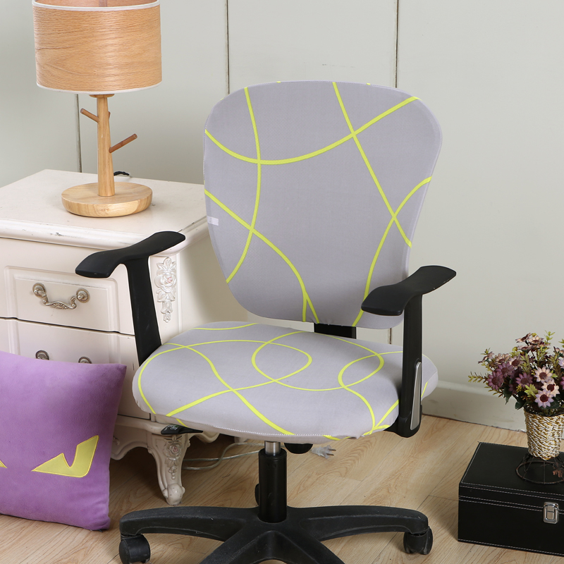 Removable Stretch Chair Covers Nice Look Office Computer Chair Seat Purple