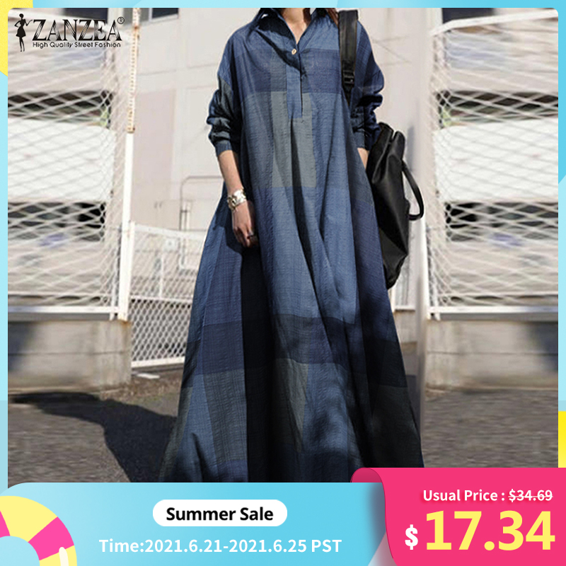 ZANZEA 2021 Vintage Button Shirt Dress Women's Autumn Sundress Long Sleeve Maxi Vestido Female Casual Bagyy Robe Femme Plus Size