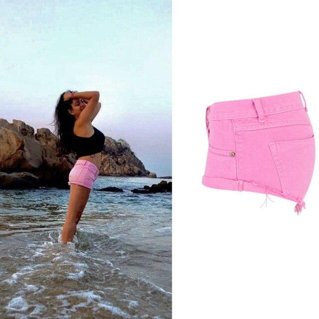 Low Waist Macaron Pink Jeans Shorts Women High Street Pantaloncini Donna Mujer Loose Summer Denim Shorts Korte Broek Vrouwen 3