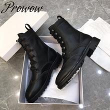 Prowow/Новинка; Роскошные Брендовые ботильоны из натуральной кожи на шнуровке; осенне-зимние ботинки с круглым носком на низком каблуке; женская обувь