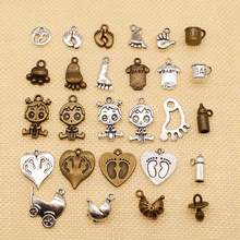 1 Piece Charms Baby Pacifier Binky Teether Making Pendant Vintage Tibetan Silver Plated Bronze,DIY Bracelet Necklace HJ027(China)