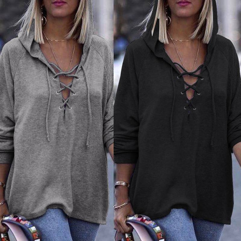 Women Long Sleeve Blouse ZANZEA 2019 Fashion Casual Loose Shirt Hoodies Tops Vintage Solid Strappy Tunic Tops Work Office Blusas
