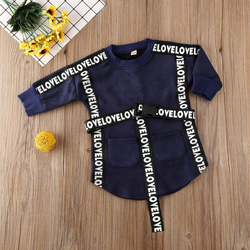 2020 Kids Baby Girl Clothes  Long Sleeve Sweatshirt Straight Dress With Belt Autumn Infant Toddler Casual Outfits 1-5T 5
