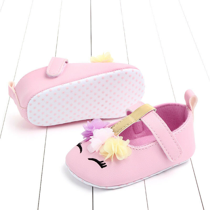 Infant Newborn Baby Girls Soft PU Leather Crib Prewalker Shoes Walking Flat Shoes First Walkers