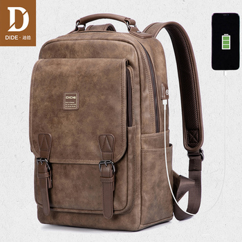 DIDE USB Charging Port laptop backpack men Mochila Vintage Casual Travel backpack Bag Male Preppy Schoolbag waterproof 15 inch frn business usb charging bag men 17 inch laptop backpack waterproof high capacity mochila antitheft casual travel backpack bag