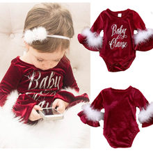 Christmas Baby Girls Romper Baby Girl Clothes Long Sleeves Newborn Baby Clothes Cute Infant Rompers Fall Jumpsuit Xmas bebes(China)