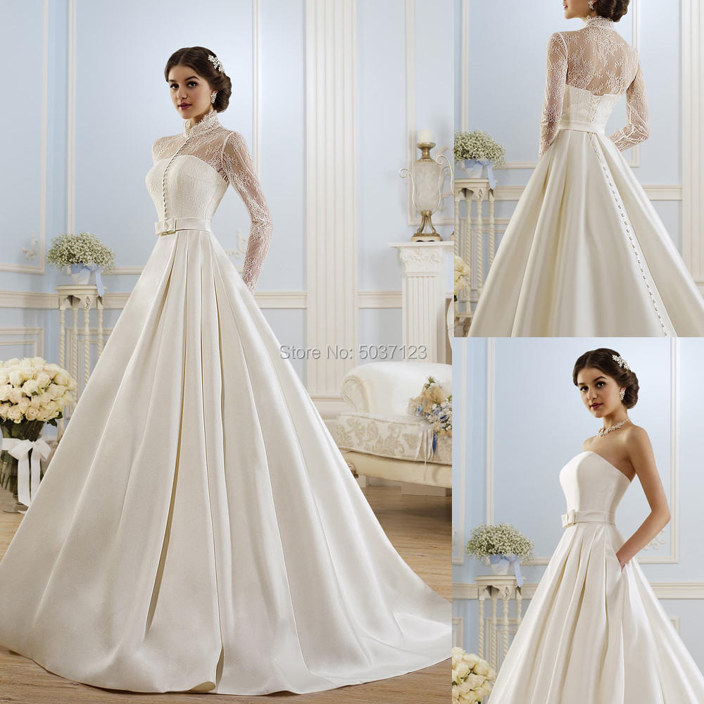 Satin Wedding Dresses With Jacket A Line Long Sleeves Lace Up Wedding Bridal Gowns With Pockets Vestido De Noiva Sweep Train