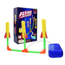 Kids Funny Toys Outdoor Three Bursts Of Foot Soaring Rocket Toy Hand-launched Airplane Toy Light Whistle Rocket Excitement