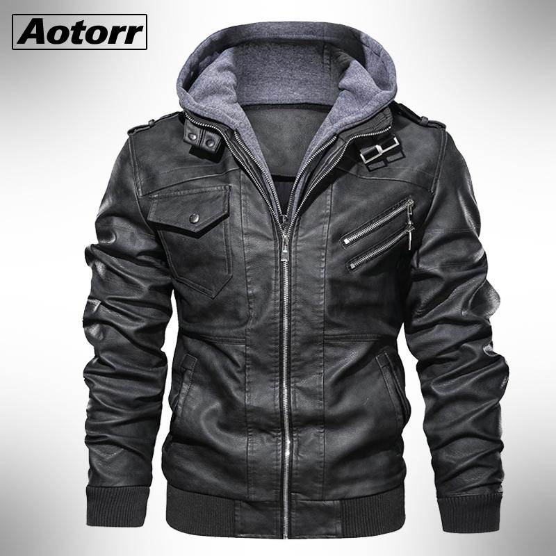 2020 Autumn Winter Men's Motorcycle Leather Jacket Windbreaker Hooded Jackets Male Outwear Warm Biker PU Jackets EU Size 3XL