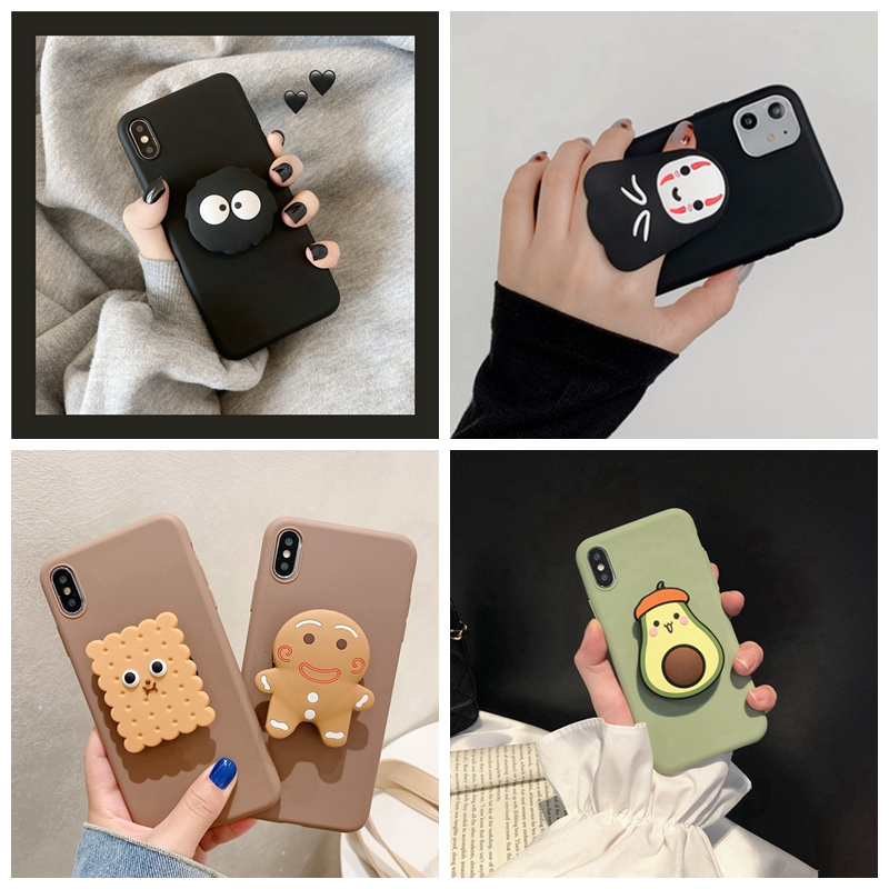 For Xiaomi Redmi Note 8 Pro 9 7 5 6 Case 3D Cute Cartoon Avocado Flower Bear Dog Holder Cover For Redmi K20 7 9A 8A 6A Soft Case(China)