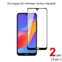 2 шт полное покрытие закаленное стекло для y6 2019 / pro prime