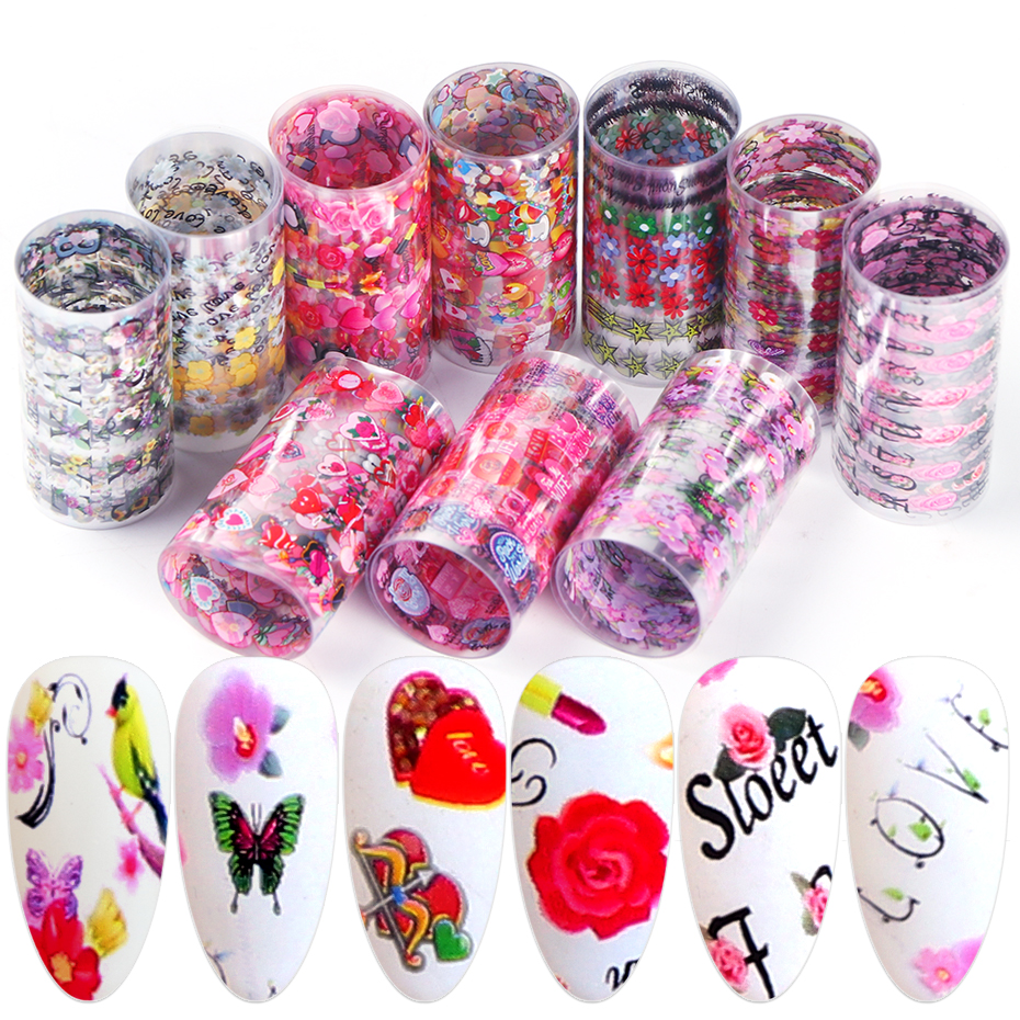 Valentine Nail Art Decoration Transfer Foils Flowers Butterfly Heart Letter Decal Stickers On Nails Full Cover Manicure BEXKH82