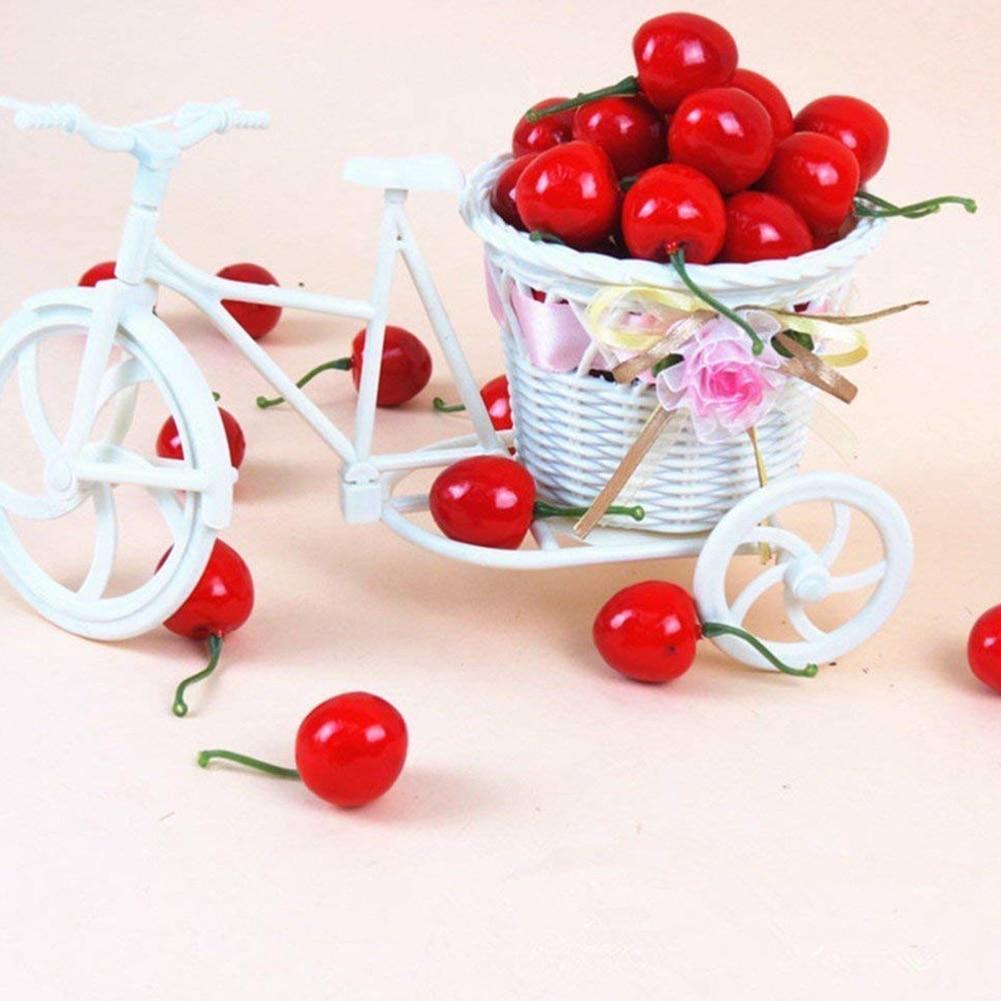 Fake Cherries Little Red Artificial Fruit Model House Kitchen Decoration Desk Ornament 1 Piece