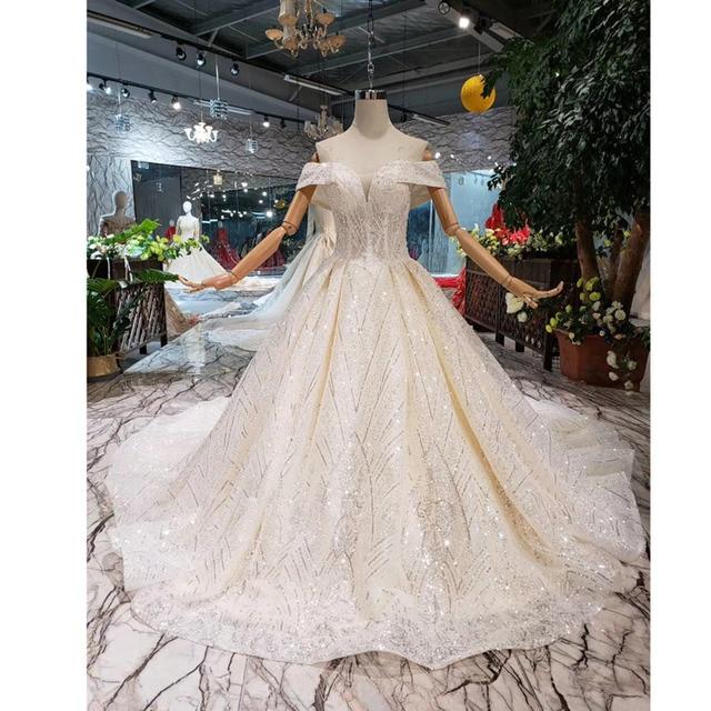 BGW HT43026 2020 חדש חומר חתונת שמלות עם ארוך רכבת כבוי כתף מתוקה יוקרה שמלת כלה עם מבריק פאייטים