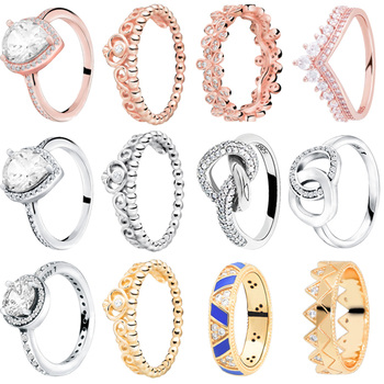 Autentyczne 925 Sterling Silver tiara księżniczki korona musujące Love Heart pierścionki z cyrkonią dla kobiet biżuteria zaręczynowa rocznica tanie i dobre opinie Kobiety Cubic Zirconia TRENDY Zespoły weselne Serce 2 5mm 3 5mm 4 5mm 5 5mm Pave ustawianie Moda Party