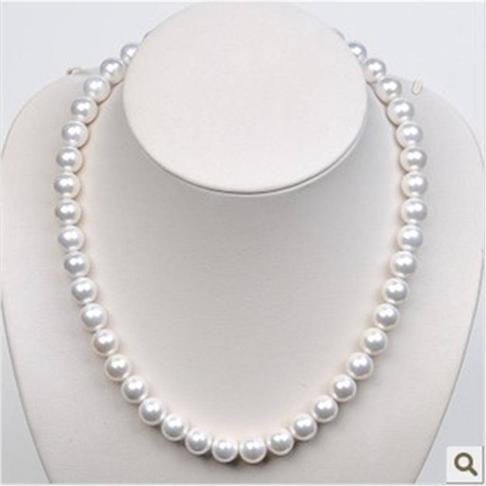 1pc freshwater White South Sea Shell pearl necklace stones Round Beads Flower Clasp for women 8MM pearl jewelry 2