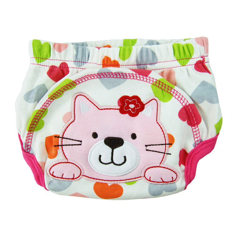 Layer Learning Panties Of Washable Cotton Waterproof Cat Pattern For Baby Pink