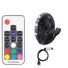 Светодиодный подсветка для ТВ SMD 5050 USB RGB DC 5 в светодиодный s ТВ ПОДСВЕТКА 1 м 2 м 3 м 4 м 5 М 5050 60 Светодиодный s/M 5 в RGB светодиодный контроллер 17Key RF