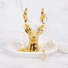 Golden Deer Antler Storage Plate Mini Creative Ceramic Ring Tray Chic Necklace Decorative Display Ceramics Jewelry