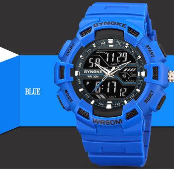 SYNOKE męski zegarek kwarcowy fajny wodoodporny wyświetlacz z podwójnym ruchem zegarki elektroniczne chłopiec uczeń zegarek sportowy z zegarem tanie i dobre opinie PANARS 26 5cm Podwójny Wyświetlacz 5Bar Klamra Z tworzywa sztucznego 16 17mm Akrylowe Nie pakiet 54 55mm Men s Watch 22 17mm