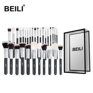 BEILI Black Complete Professional Natural goat hair Makeup Brushes set Foundation Powder Concealer Contour Eyes Blending brush(China)